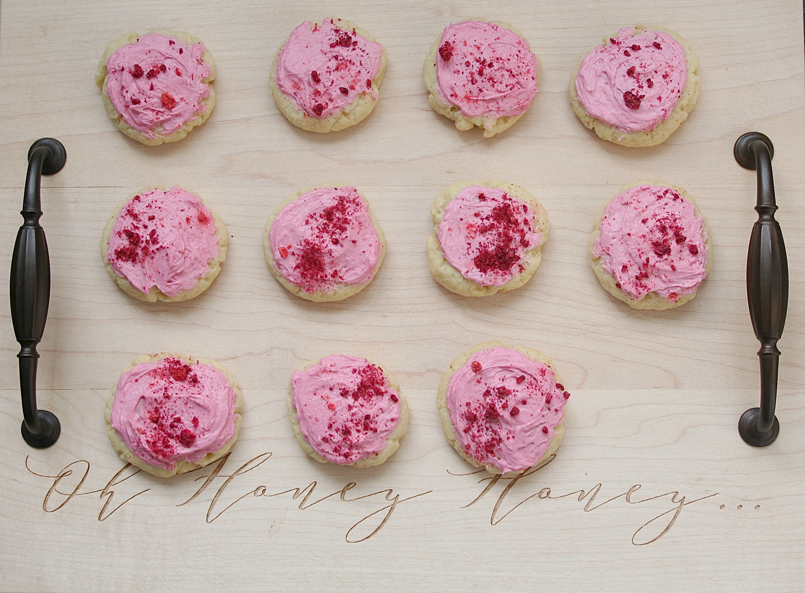 sugar cookie with berry buttercream