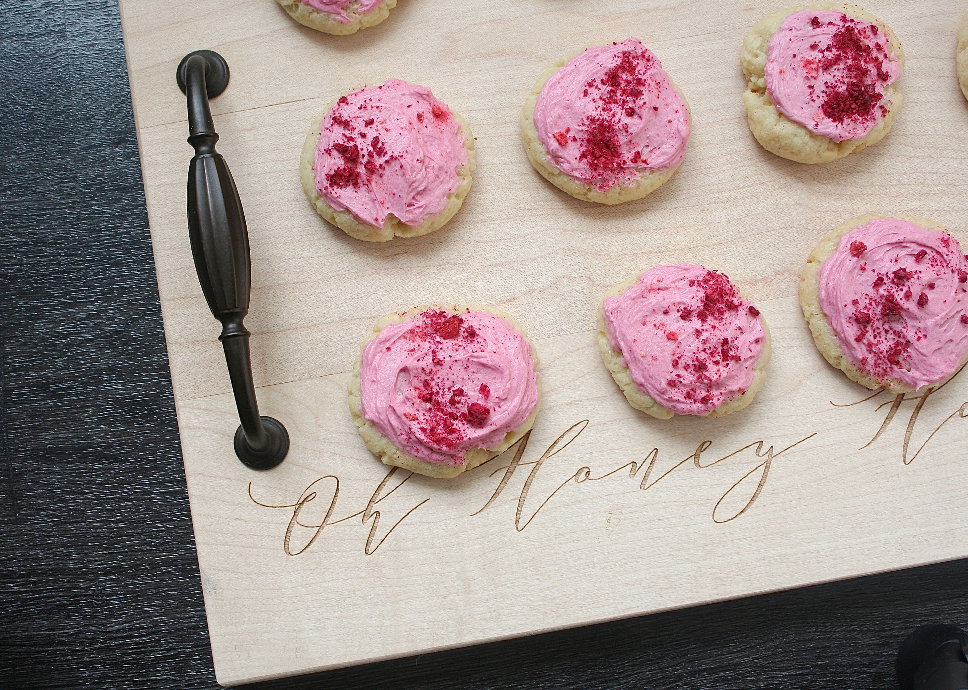 sugar cookies with berry buttercream